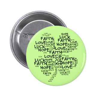 Vierblättriges Kleeblatt bedeutend: Hoffnung, Runder Button 5,7 Cm