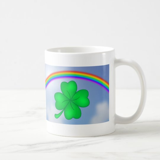 Vierblättriges Kleeblatt mit Regenbogen Kaffeetasse