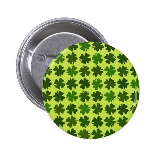 Vierblättriges Kleeblatt Muster Buttons