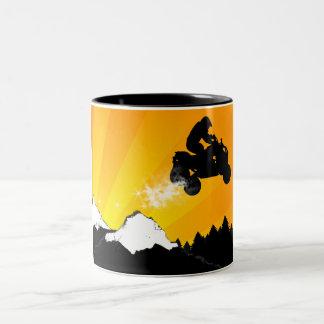 Viererkabel. orange Sonnenuntergang Zweifarbige Tasse