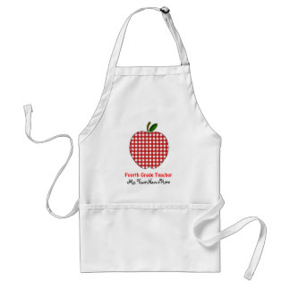 Vierte Grad-Lehrer-Schürze - roter Gingham Apple Schürze