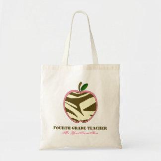 Vierte Grad-Lehrer-Tasche - Brownzebra-Druck Apple Budget Stoffbeutel