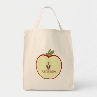 Vierte Grad-Lehrer-Tasche - rotes Apple halb Einkaufstasche