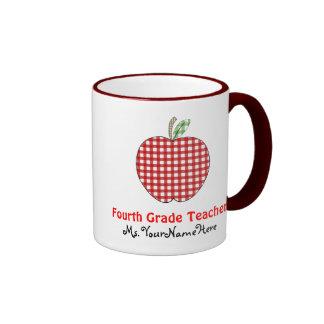 Vierte Grad-Lehrer-Tasse - roter Gingham Apple Ringer Tasse