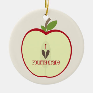 Vierte Grad-Lehrer-Verzierung - rotes Apple halb Rundes Keramik Ornament