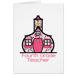 Vierter Grad-Lehrer-Farben-SpritzerSchoolhouse Mitteilungskarte