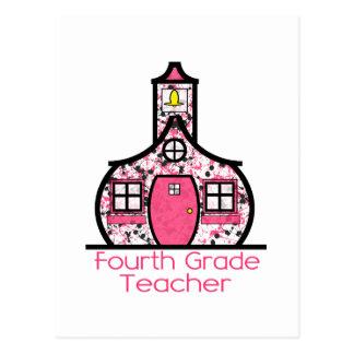 Vierter Grad-Lehrer-Farben-SpritzerSchoolhouse Postkarte