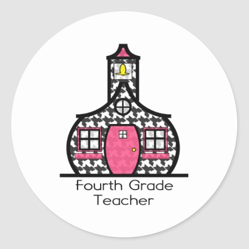 Vierter Grad-Lehrer-HahnentrittmusterSchoolhouse Runder Aufkleber