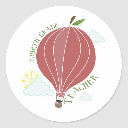 Vierter Grad-Lehrer-Heißluft-Ballon Apple Stickers