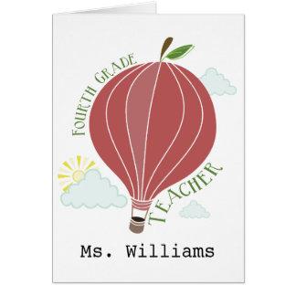 Vierter Grad-Lehrer-Heißluft-Ballon Apple Grußkarte