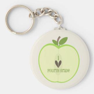 Vierter Grad-Lehrer Keychain - grünes Apple halb Schlüsselband