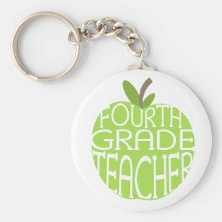 Vierter Grad-Lehrer Keychain - grünes Apple Standard Runder Schlüsselanhänger