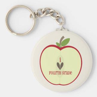 Vierter Grad-Lehrer Keychain - rotes Apple halb Schlüsselanhänger