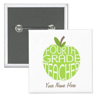 Vierter Grad-Lehrer-Knopf - grünes Apple Quadratischer Button 5,1 Cm