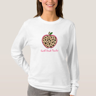 Vierter Grad-Lehrer-Leopard-Druck Apple T-Shirt