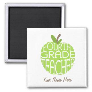 Vierter Grad-Lehrer-Magnet - grünes Apple Quadratischer Magnet
