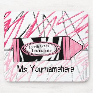 Vierter Grad-Lehrer Mousepad - Zebra-Druck-Zeichen