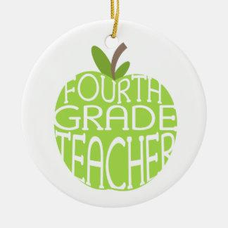Viertes Grad-Lehrer-Grün Apple verzieren Rundes Keramik Ornament