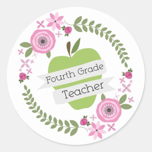 Viertes Grad-Lehrer-Grün-AppleblumenKranz Aufkleber