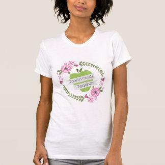 Viertes Grad-Lehrer-Grün-AppleblumenKranz Hemd