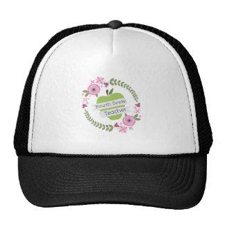 Viertes Grad-Lehrer-Grün-AppleblumenKranz Baseballcap