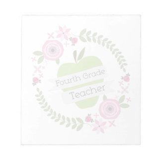 Viertes Grad-Lehrer-Grün-AppleblumenKranz Memo Notizblock
