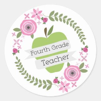 Viertes Grad-Lehrer-Grün-AppleblumenKranz Runder Aufkleber