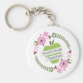 Viertes Grad-Lehrer-Grün-AppleblumenKranz Schlüsselanhänger