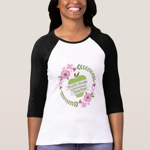 Viertes Grad-Lehrer-Grün-AppleblumenKranz Tshirts