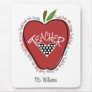Viertes Grad-Lehrer-Rot Apple Mauspad