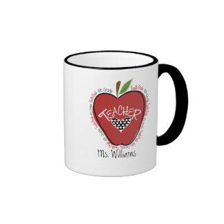 Viertes Grad-Lehrer-Rot Apple Ringer Tasse