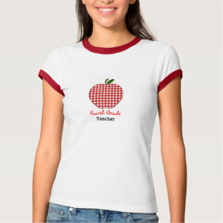 Viertes Grad-Lehrer-Shirt - roter Gingham Apple Hemd