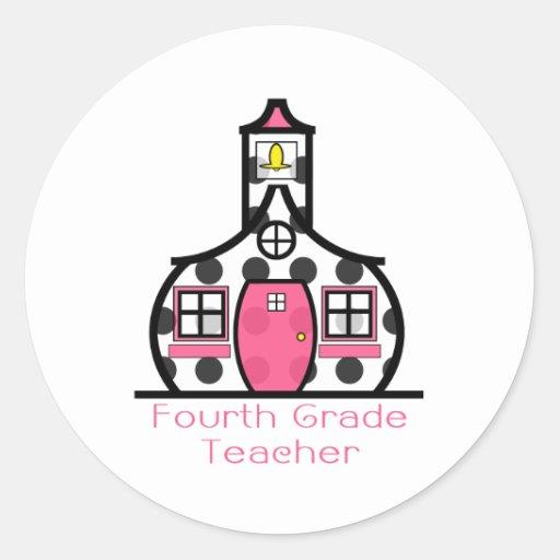 Viertes Grad-Lehrer-Tupfen-Schulhaus Aufkleber