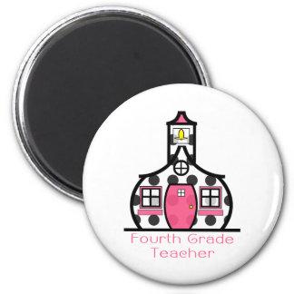Viertes Grad-Lehrer-Tupfen-Schulhaus Magnets