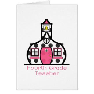 Viertes Grad-Lehrer-Tupfen-Schulhaus Mitteilungskarte
