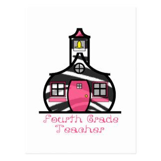 Viertes Grad-Lehrerzebra-Druck-Schulhaus Postkarten