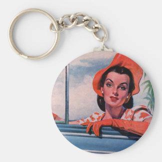 Vierzigerjahre schöne Frau im Auto Schlüsselanhänger