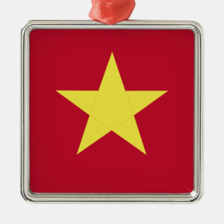 Vietnam-Flagge Quadratisches Silberfarbenes Ornament