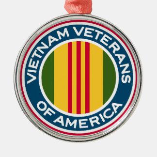 Vietnam-Veterane von Amerika-Logo Rundes Silberfarbenes Ornament