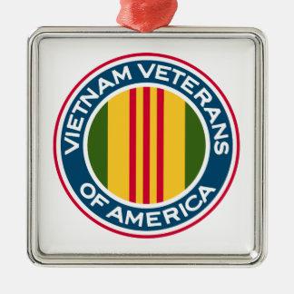 Vietnam-Veterane von Amerika-Logo Quadratisches Silberfarbenes Ornament