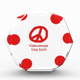 Vietnamesische Sprache und Friedenssymbol-Entwurf Acryl Auszeichnung