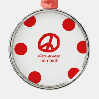 Vietnamesische Sprache und Friedenssymbol-Entwurf Silbernes Ornament