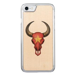 Vietnamesischer Flaggen-Stier-Schädel Carved iPhone 8/7 Hülle