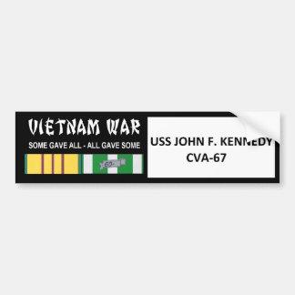 VIETNAMKRIEG-VETERAN USSS JOHN F. KENNEDY AUTOAUFKLEBER
