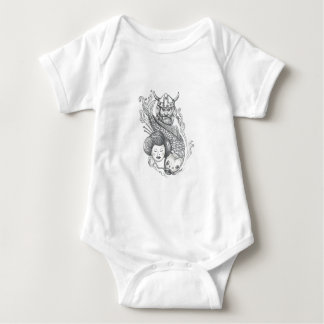 Viking-Karpfen-Geisha-Kopf-Tätowierung Baby Strampler