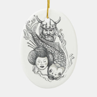 Viking-Karpfen-Geisha-Kopf-Tätowierung Keramik Ornament