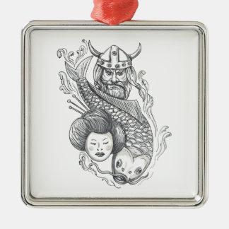 Viking-Karpfen-Geisha-Kopf-Tätowierung Silbernes Ornament