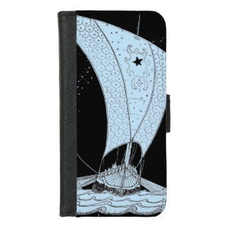 Viking Longship nachts iPhone 8/7 Geldbeutel-Hülle