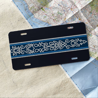 Viking-Muster-Blau US Nummernschild