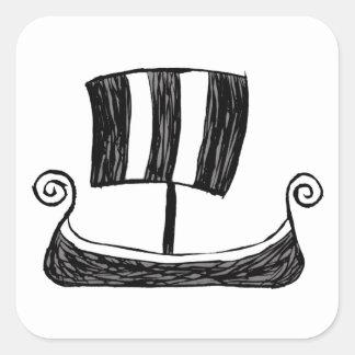 Viking-Schiff Quadratischer Aufkleber